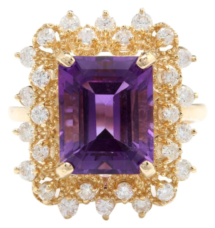 5.80 Carats Impressive Natural Amethyst and Diamond 14K Solid Yellow Gold Ring