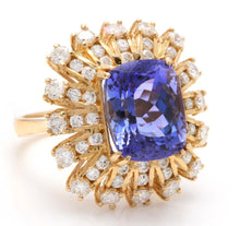 Load image into Gallery viewer, 10.20 Carats Natural Very Nice Looking Tanzanite and Diamond 14K Solid Yellow Gold Ring