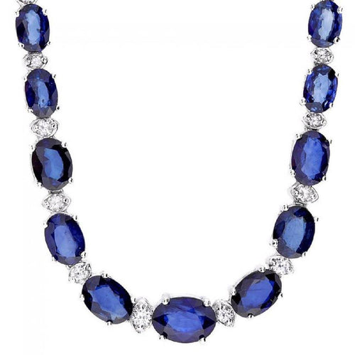 29.10Ct Natural Blue Sapphire and Diamond 14K Solid White Gold Necklace