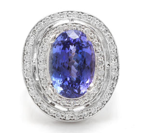 9.70 Carats Natural Very Nice Looking Tanzanite and Diamond 14K Solid White Gold Ring