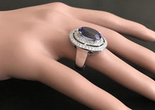 Load image into Gallery viewer, 9.70 Carats Natural Very Nice Looking Tanzanite and Diamond 14K Solid White Gold Ring