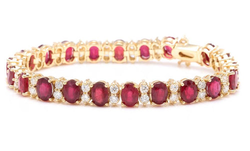 Very Beautiful 29.80 Carats Ruby & Natural Diamond 14K Solid Yellow Gold Bracelet