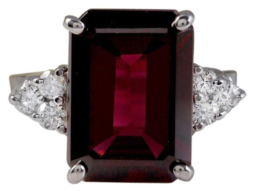 9.25 Carats Natural Impressive Red Garnet and Diamond 14K White Gold Ring