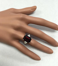 Load image into Gallery viewer, 9.25 Carats Natural Impressive Red Garnet and Diamond 14K White Gold Ring