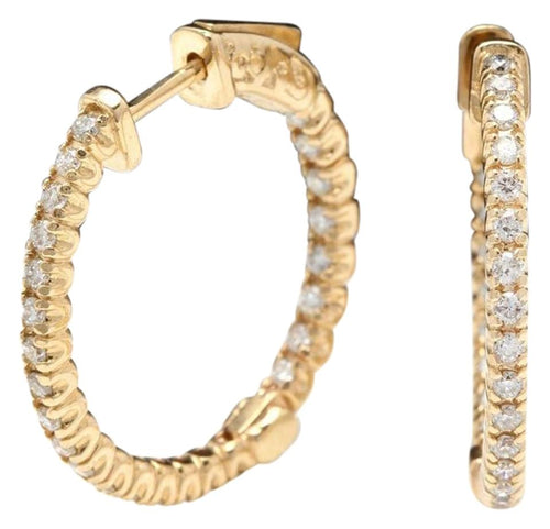 Exquisite 1.15 Carats Natural Diamond 14K Solid Yellow Gold Hoop Earrings
