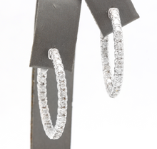 Load image into Gallery viewer, Exquisite 2.00 Carats Natural Diamond 14K Solid White Gold Hoop Earrings
