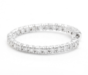 Exquisite 2.00 Carats Natural Diamond 14K Solid White Gold Hoop Earrings
