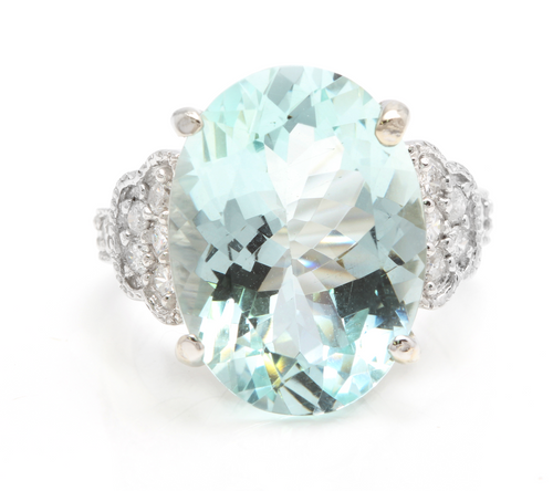 10.65 Carats Impressive Natural Aquamarine and Diamond 14K Solid White Gold Ring