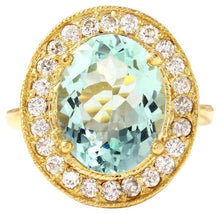 Load image into Gallery viewer, 5.10 Carats Natural Aquamarine and Diamond 14K Solid Yellow Gold Ring