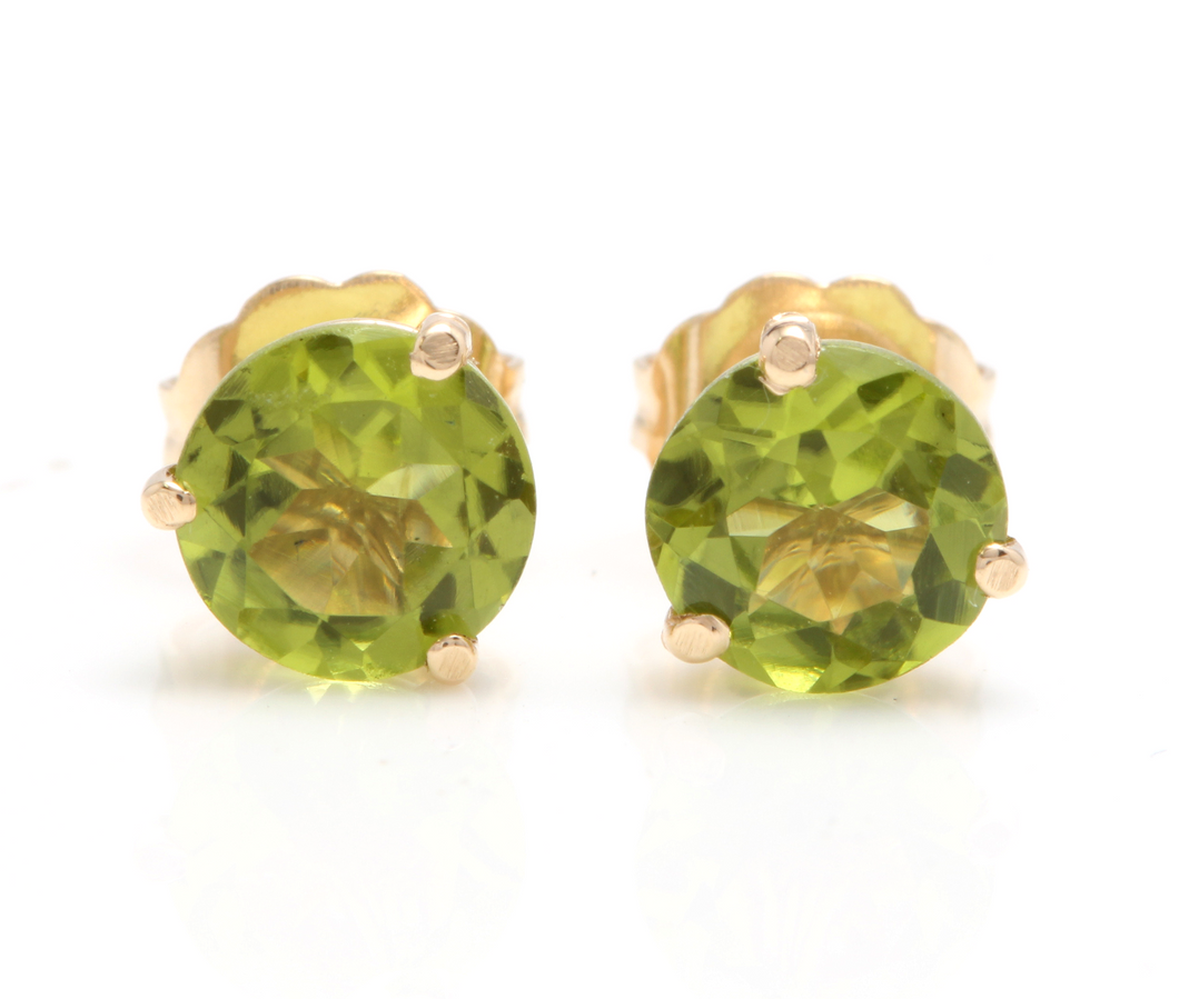 Exquisite 1.80 Carats Natural Peridot 14K Solid Yellow Gold Martini Stud Earrings