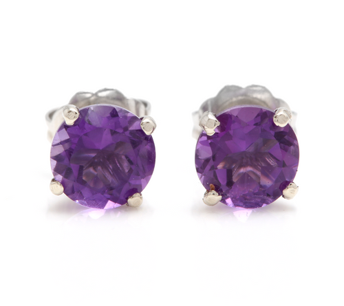 Exquisite 1.80 Carats Natural Amethyst 14K Solid White Gold Martini Stud Earrings