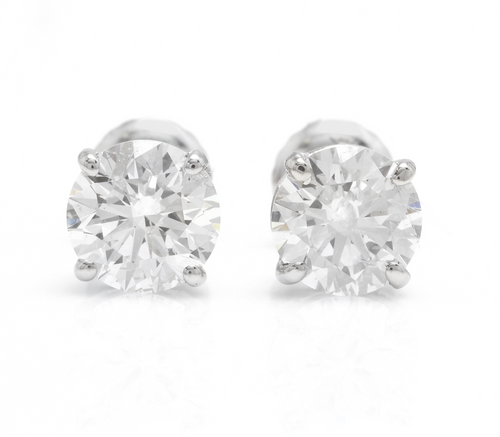 Exquisite 0.95 Carats Natural Diamond 14K Solid White Gold Stud Earrings
