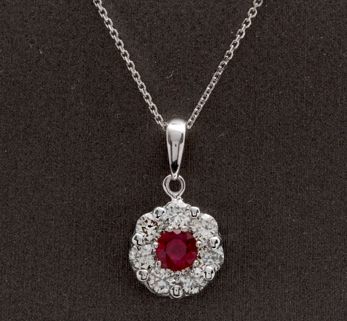 1.15Ct Natural Red Ruby and Diamond 14K Solid White Gold Necklace