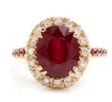 Load image into Gallery viewer, 5.60 Carats Gorgeous Natural Red Ruby and Diamond 14K Solid Yellow Gold Ring