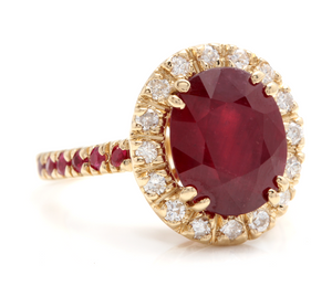5.60 Carats Gorgeous Natural Red Ruby and Diamond 14K Solid Yellow Gold Ring