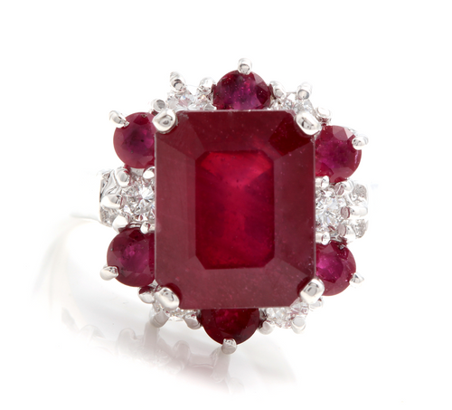 7.45 Carats Impressive Natural Red Ruby and Diamond 14K White Gold Ring