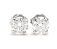 Load image into Gallery viewer, Exquisite 1.60 Carats Natural Diamond 14K Solid White Gold Stud Earrings