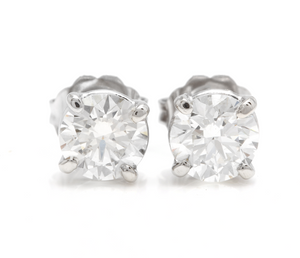 Exquisite 1.60 Carats Natural Diamond 14K Solid White Gold Stud Earrings