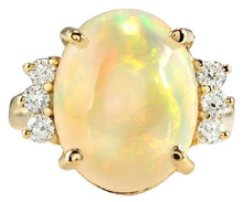 Load image into Gallery viewer, 6.30 Carats Natural Impressive Ethiopian Opal and Diamond 14K Solid Yellow Gold Ring