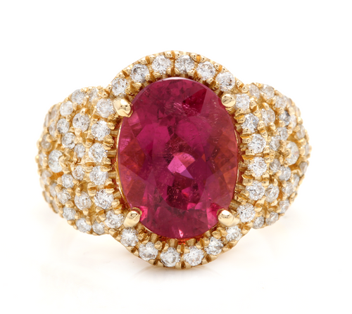 6.50 Carats Impressive Natural Rubellite and Diamond 14K Yellow Gold Ring