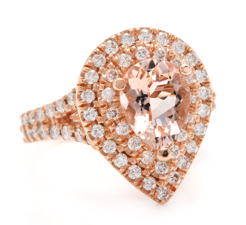 3.40 Carats Exquisite Natural Morganite and Diamond 14K Solid Rose Gold Ring