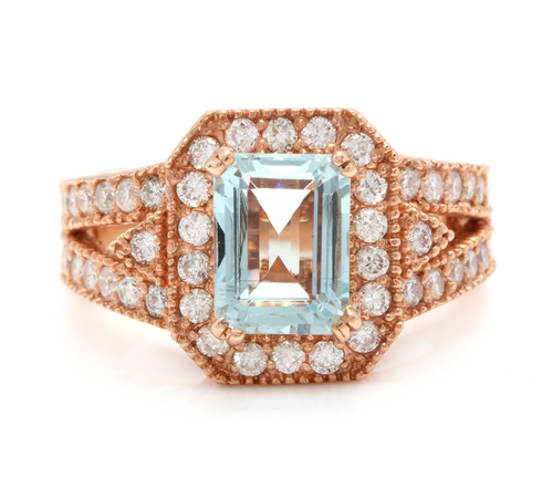 2.65 Carats Natural Aquamarine and Diamond 14K Solid Rose Gold Ring