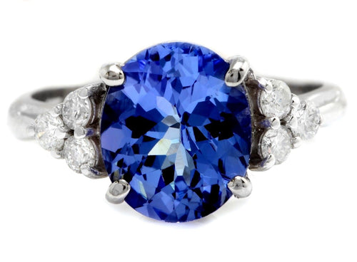 4.15 Carats Natural Very Nice Looking Tanzanite and Diamond 14K Solid White Gold Ring