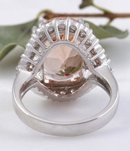 Load image into Gallery viewer, 7.70 Carats Exquisite Natural Morganite and Diamond 14K Solid White Gold Ring