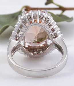 7.70 Carats Exquisite Natural Morganite and Diamond 14K Solid White Gold Ring
