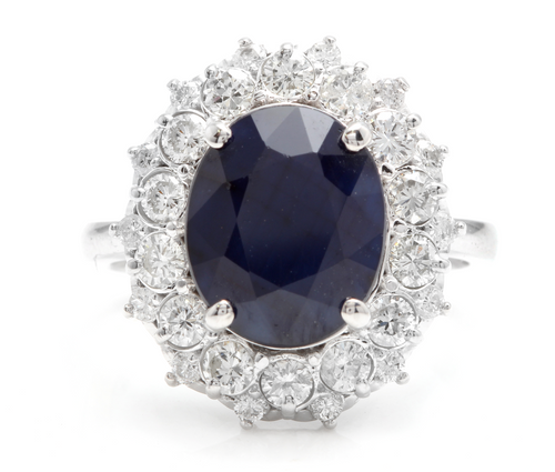 8.80 Carats Exquisite Natural Blue Sapphire and Diamond 14K Solid White Gold Ring