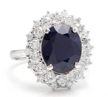 Load image into Gallery viewer, 8.80 Carats Exquisite Natural Blue Sapphire and Diamond 14K Solid White Gold Ring