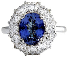 Load image into Gallery viewer, 4.80 Carats Natural Very Nice Looking Tanzanite and Diamond 14K Solid White Gold Ring