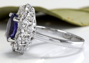 4.75 Carats Natural Very Nice Looking Tanzanite and Diamond 14K Solid White Gold Ring