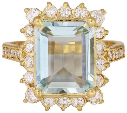 5.15 Carats Natural Aquamarine and Diamond 14K Solid Yellow Gold Ring