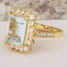 Load image into Gallery viewer, 5.15 Carats Natural Aquamarine and Diamond 14K Solid Yellow Gold Ring