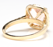 Load image into Gallery viewer, 2.60 Carats Impressive Natural Morganite and Diamond 14K Yellow Gold Ring