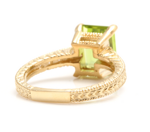 3.20 Carats Impressive Natural Peridot and Diamond 14K Yellow Gold Ring