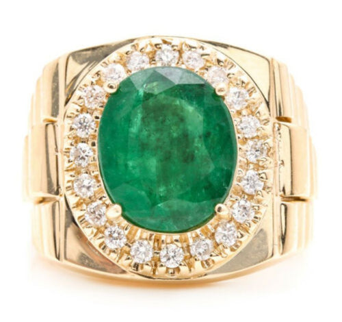 5.70 Carats Natural Emerald and Diamond 14K Solid Yellow Gold Men's Ring