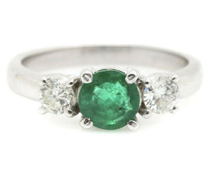 1.32 Carats Natural Emerald and Diamond 14K Solid White Gold Ring
