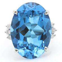 Load image into Gallery viewer, 25.25 Carats Impressive Natural Swiss Blue Topaz and Diamond 14K Solid White Gold Ring