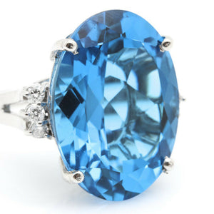 25.25 Carats Impressive Natural Swiss Blue Topaz and Diamond 14K Solid White Gold Ring