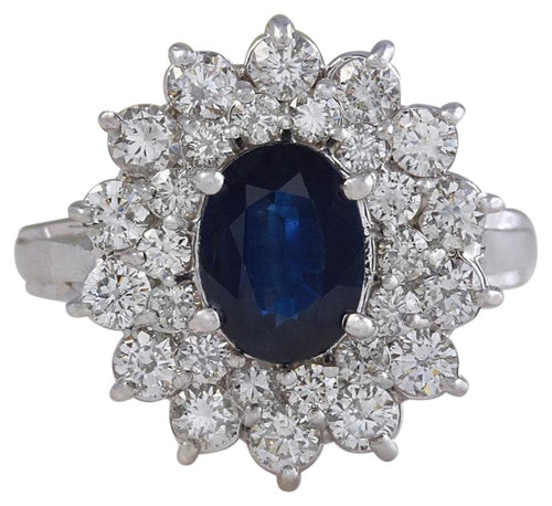 2.70 Carats Natural Blue Sapphire and Diamond 14K Solid White Gold Ring