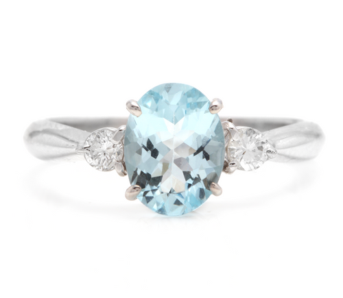 1.16 Carats Impressive Natural Aquamarine and Diamond 14K Solid White Gold Ring