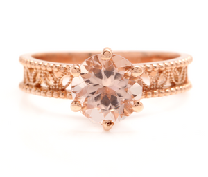 1.70 Carats Exquisite Natural Morganite 14K Solid Rose Gold Ring