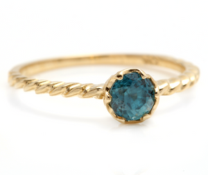 Beautiful Natural Blue Zircon 14K Solid Yellow Gold Ring