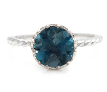 Load image into Gallery viewer, 2.00 Carats Natural London Blue Topaz 14K Solid White Gold Ring