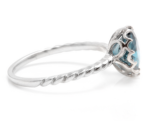 2.00 Carats Natural London Blue Topaz 14K Solid White Gold Ring