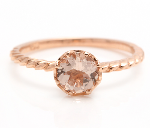 1.00 Carats Exquisite Natural Morganite 14K Solid Rose Gold Ring