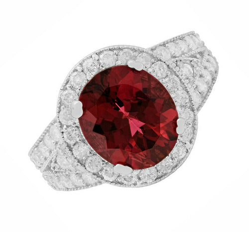 5.35 Carats Natural Very Nice Looking Tourmaline and Diamond 14K Solid White Gold Ring