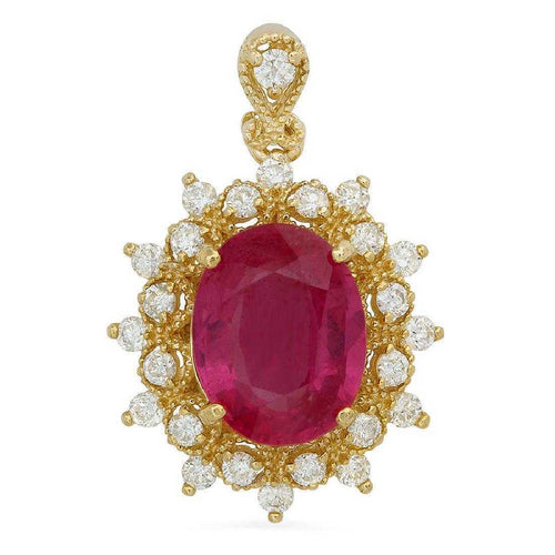 6.70Ct Natural Red Ruby and Natural Diamond 14K Solid Yellow Gold Necklace